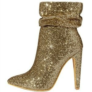 Shoes - ⬇💥SALE!💥NEW!💥 Sexy Gold Slouchy Sparkle Boots